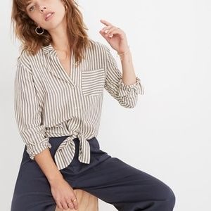Madewell Tie-Front Shirt in Maitland Stripe XL